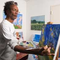 Artist Ron Medley in his Brooklyn apartment/studio