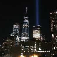 Beams of light point skyvward at the site of the World Trade Center