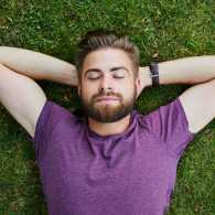 Young man relaxing outdoors