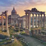 Roman Forum in Rome, Italy during sunrise.