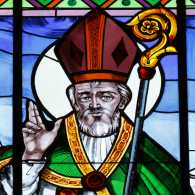 Guideposts: Saint Valentine, as depicted in stained glass in the Basilica of St. Valentine in Terni, Italy