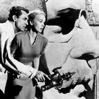 Cary Grant, Eva Marie Saint and Teddy Roosevelt in scene from North by Northwest