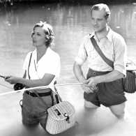 Irene Dunne and Melvyn Douglas in a scene from 'Theodora Goes Wild'