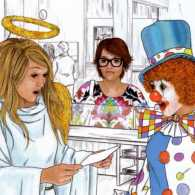 Artist rendering of angel and author at the bank