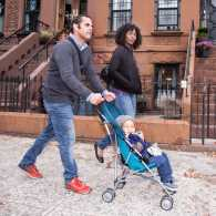 Brian, Angie and Gabriel out for a stroll in their Brooklyn neighborhood