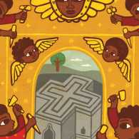 An artist's rendering of Ethiopian angels creating Lalibela; Illustration by Edson Ike