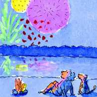 An artist's rendering of a man with dog watching fireworks.