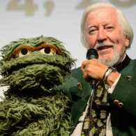 Carroll Spinney with Oscar the Grouch puppet