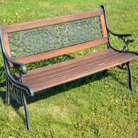 A wrought iron bench