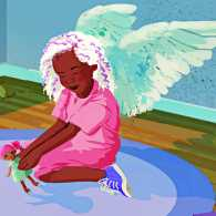 A young girl with angel wings plays with a doll in her bedroom