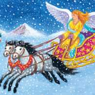 An artist's rendering of a flying horse-drawn sleigh being driver by an angel.