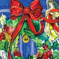 A Christmas wreath surrounded by two angels. Illustration by Hennie Haworth