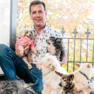 Steve Greig and his family of dogs.