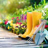 Gardening tools and rubber boots; Getty Images