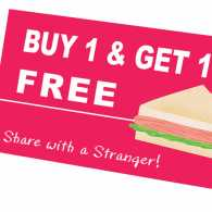 An aritsts rendering a sandwich coupon with a BOGO deal.