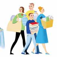 An artist's rendering of a couple letting their friends take items at a downsizing party.