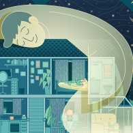 An artist's rendering of an angel hugging a home; Illustration by Amanda Lima