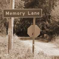 Memory Lane street sign, rural road in sepia