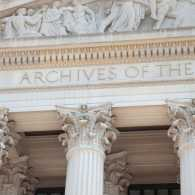 Close-up of National Archives in Washington: A Miracle in the National Archives