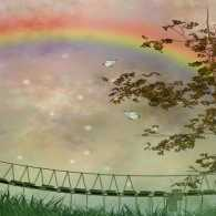 An artist rendition of rainbow bridge...do pets go to heaven?