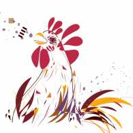 An abstract illustration of a rooster crowing.
