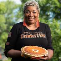 Rose McGee with her famous sweet potato pies; photo by Matthew Gilson