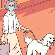 A woman walking her dog; Illustration by Tanguy Jestin