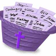 A purple basket full of slips with names of church congregation members.