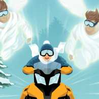 Snow angels flying with Cheryl during her crazy snowmobile ride.