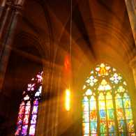 Interior stained glass windows of St. Vitus Cathedral, Prague, Czech Republic