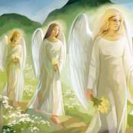 An artist's rendering of angels gathering in a cemetery