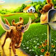 Illustration of a dog with angel wings enjoying the outdoors