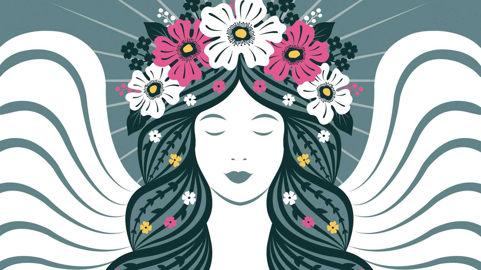 An angel with a flower crown; Illustration by Yulia Vysotskaya