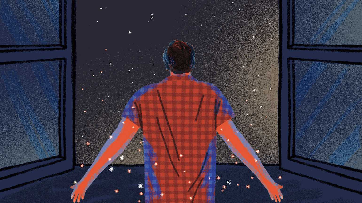An illustration of a man in his pajamas observing a starry night; Illustration by Jesus Sotes