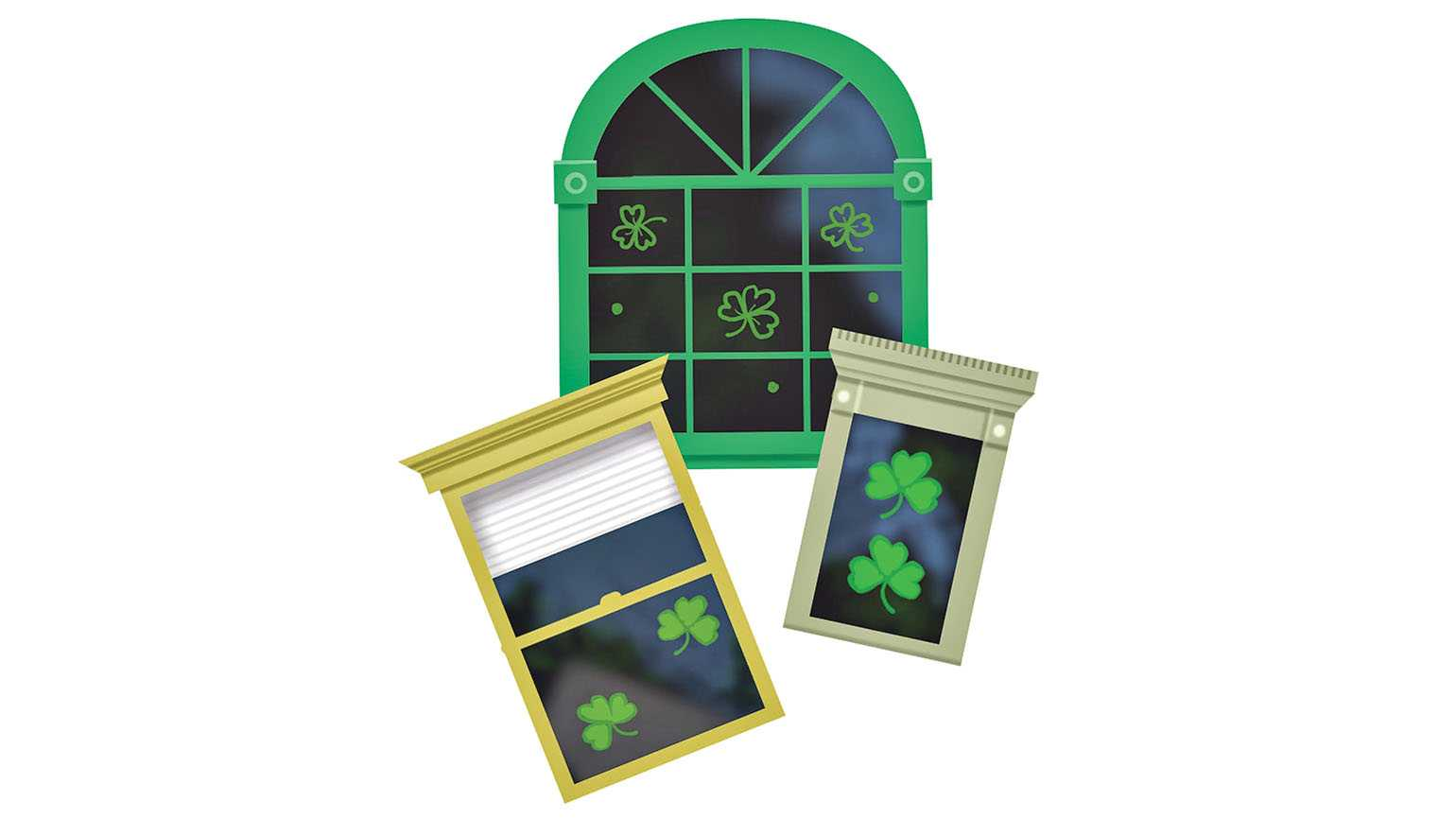 Shamrocks in various windows; Illustration by Coco Masuda