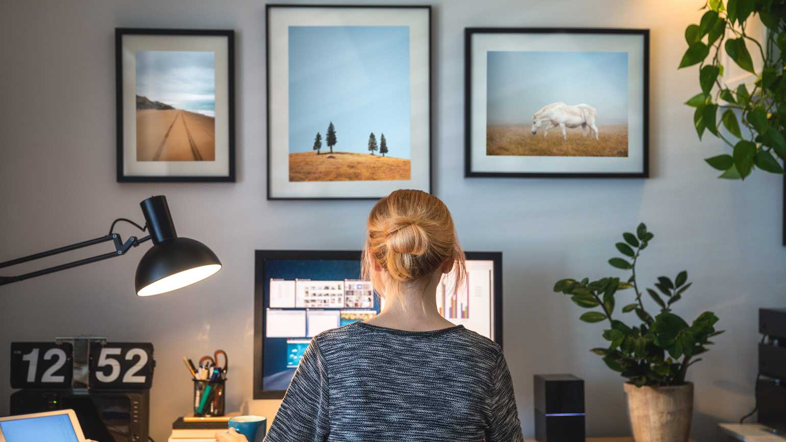 A woman working from her home office.