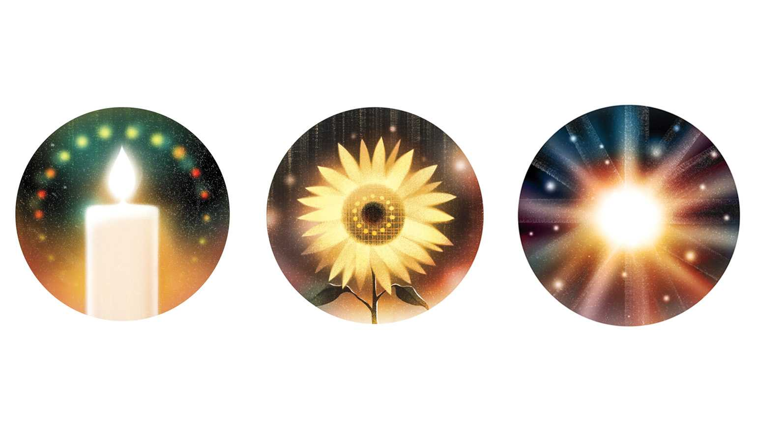 An illustration of a candle, sunflower and golden light; Illustrations by Jasu Hu