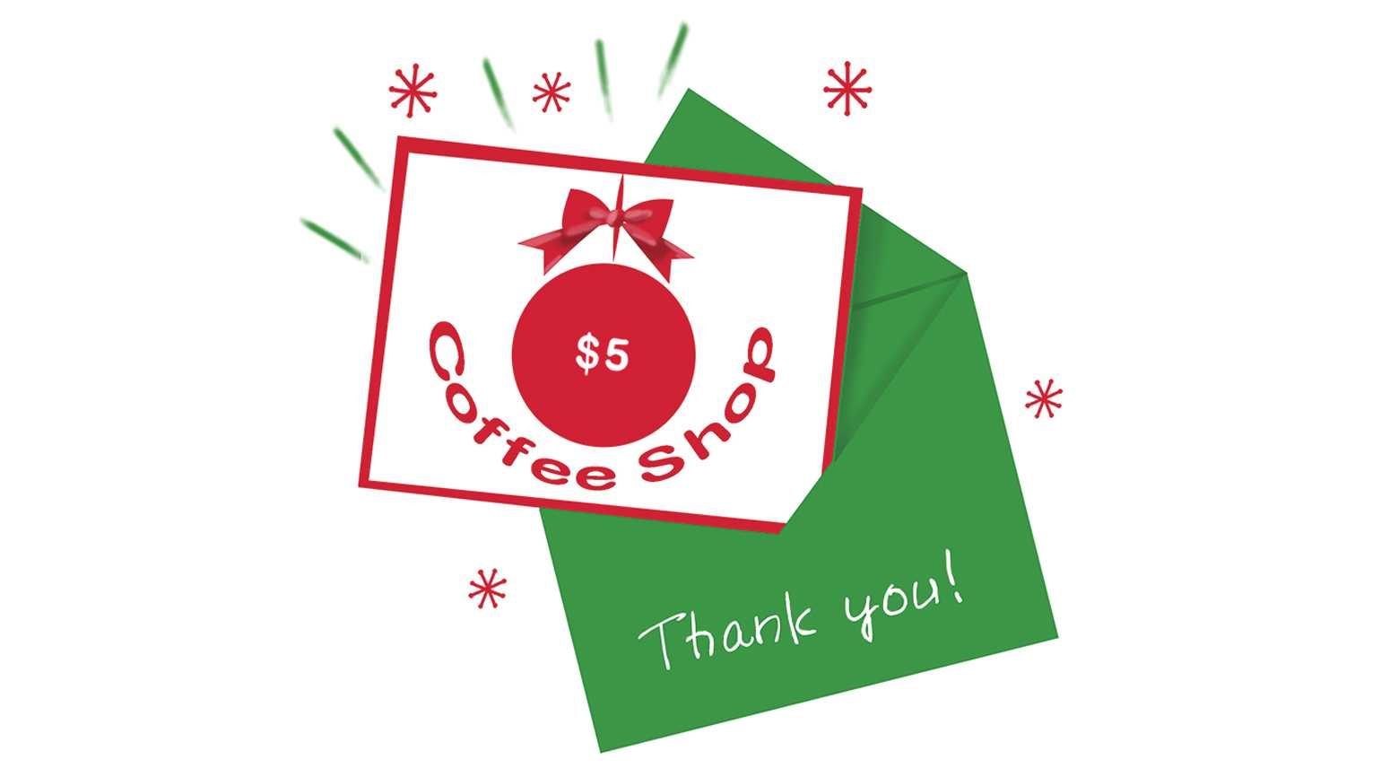 A coffee shop coupon inside a thank you envelope; Illustration by Coco Masuda