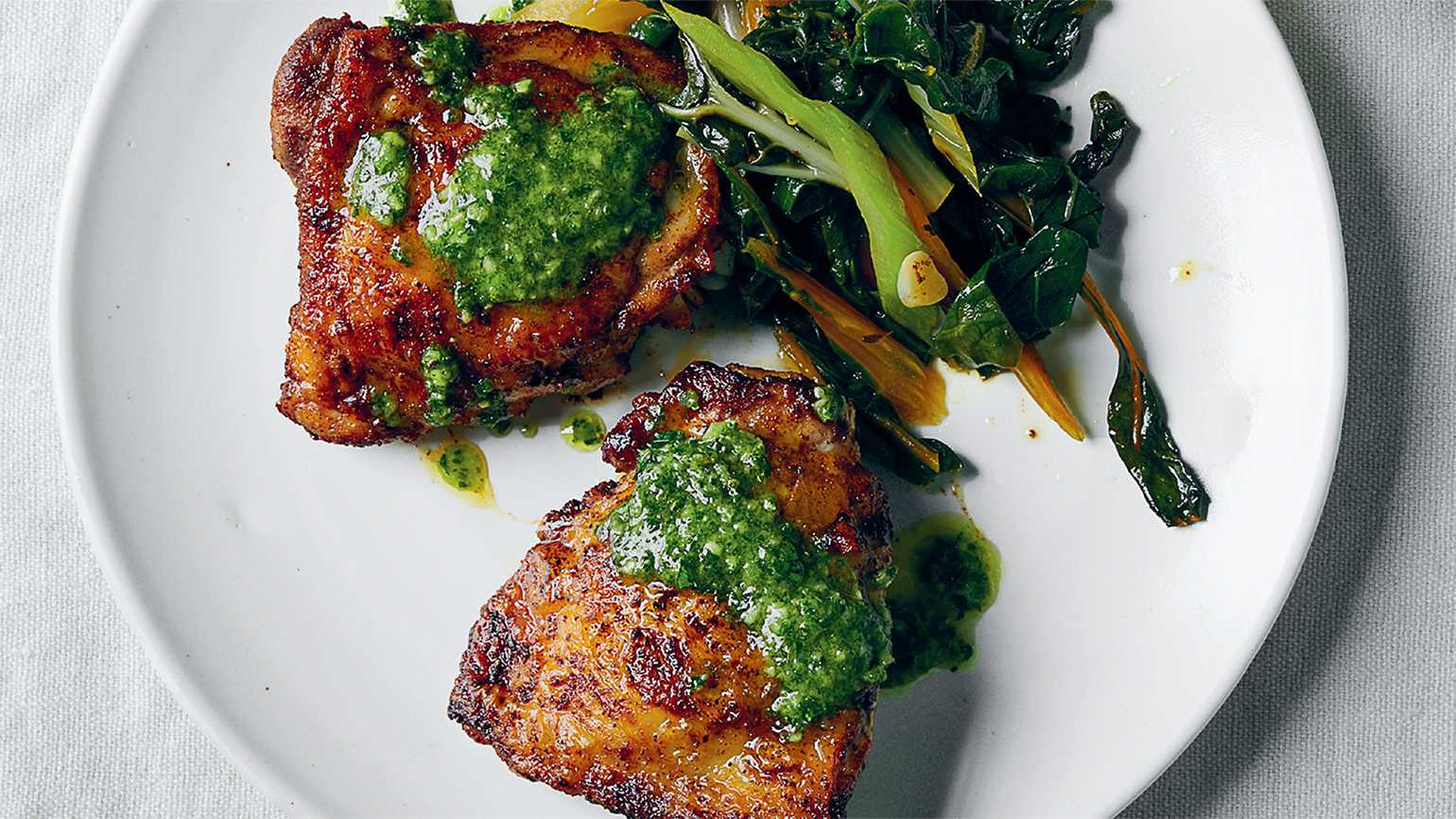 Sam Sifton's Pan-Roasted Chicken with Mint Sauce; photo by David Malosh