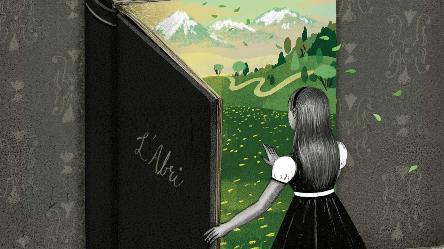 Bryon Eggenschwiler's illustration of a young girl stepping into a book called L'Abri