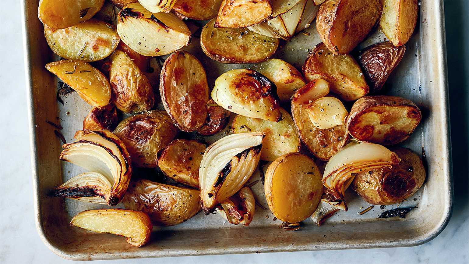 Roasted Potatoes with Onions and Rosemary; photograph by David Malosh