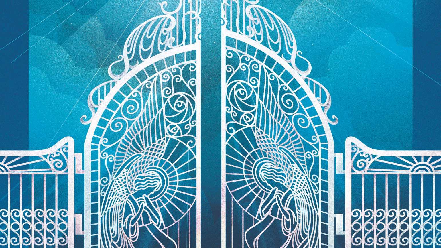 White gates with angels built inside; Illustration by Weitong Mai