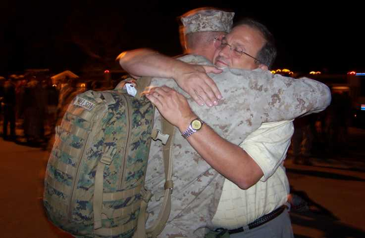 Outreach Ministries blogger Edie Melson's son saying goodbye before deployment