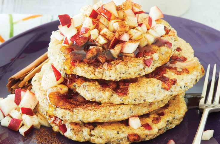 A stack of apple protein pancakes.