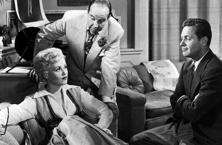 Judy Holliday, Broderick Crawford and William Holden in 'Born Yesterday'