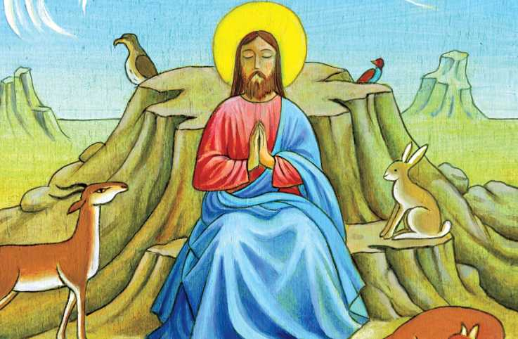 An artist's depcition of Jesus in the wilderness; Illustration by Stefano Vitale