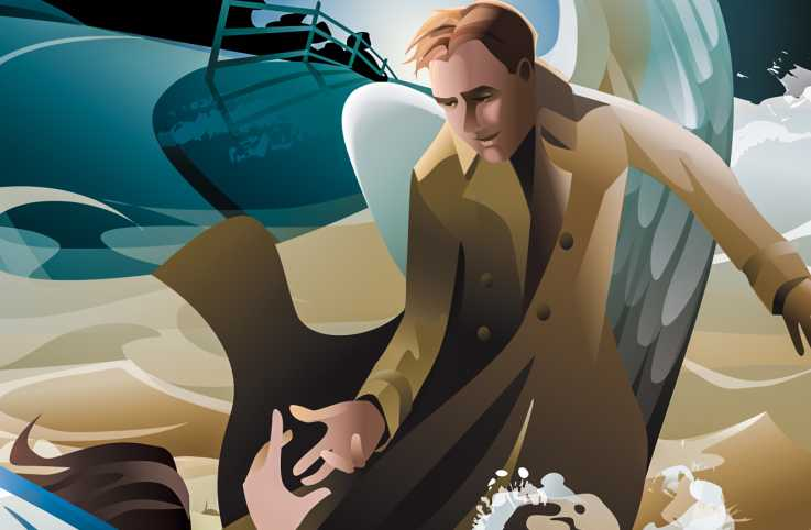 An angel in a trench coat rescuing another. Illustration by Kim Johnson