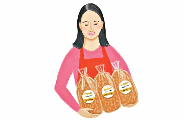 An illustration of a woman with three loaves of bread; Illustration by Coco Masuda