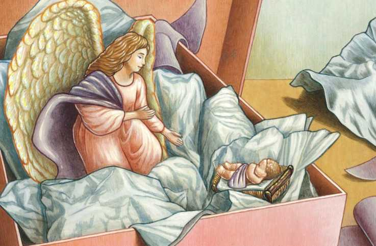 An illustration of a Nativity sculpture of Mary and Newborn Jesus; Illustration by Sylvie Fong