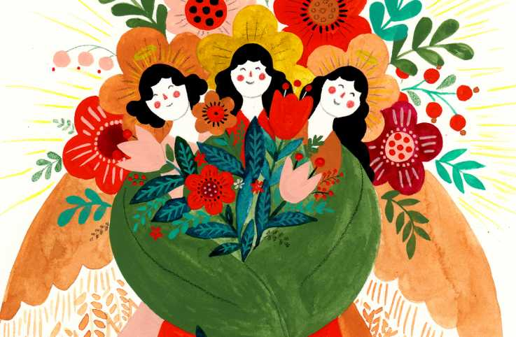 A trio of angels holding a large bouquet; Illustration by Dinara Mirtalipova